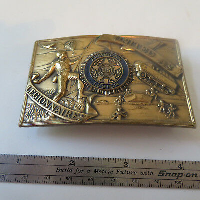 """Collectible Vintage Belt Buckle High Relief 31/8' X 2"""" United As Legionnaires"""