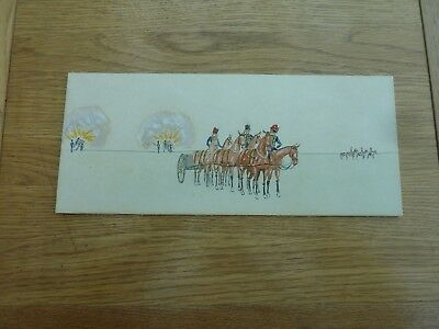 """Vintage Hand Painted Sketch Royal Horse Artillery On Board 11 X 5"""""""