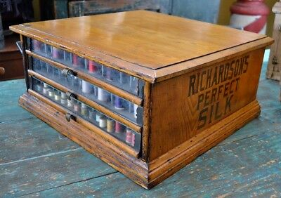 Antique Richardson's Perfect Silk Sewing Spool Cabinet Advertising