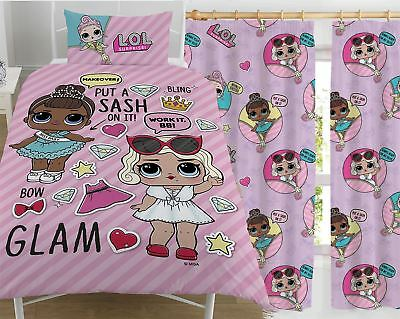 """LOL Surprise Glam! Single Duvet and Matching Curtains Set 54"""" or 72"""" Drop"""
