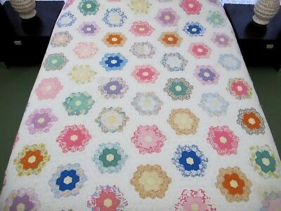"NEEDS TLC: Vintage OLD Hand Sewn Feed Sack Cotton FLOWER GARDEN Quilt, 84"" x 76"""