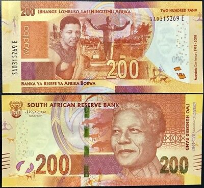 South Africa 200 Rand 2018 P New 100Th Comm. Mandela Unc Nr