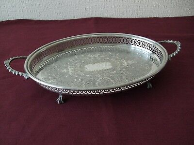 Vintage Silver Plated Engraved Gallery Tray With Ball & Claw Feet.
