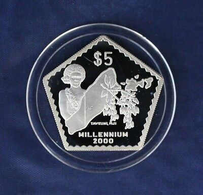 "1999 Fiji Silver Proof $5 coin ""Millennium"" in Capsule with COA   (N9/20)"
