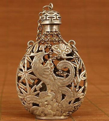 Big china old tibet silver carving hollow out eagle figure snuff bottle netsuke