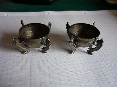 Chinese Export Silver Salts Cellars Pots Stamped (pair)