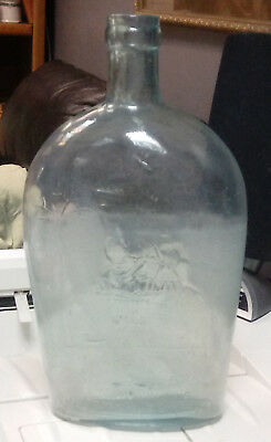 1800s CONTINENTIAL WHISKEY Glass Bottle FLASK Indian Shooting ARROW Cuninghams