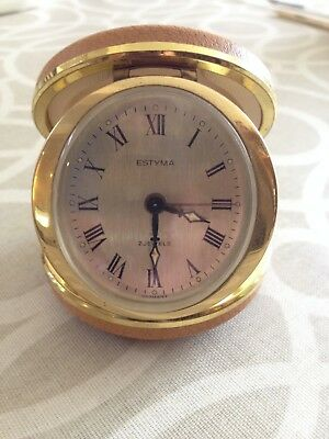 Estyma Travel Wind Up Alarm Clock 2 Jewels Made In Germany Tan Round Case