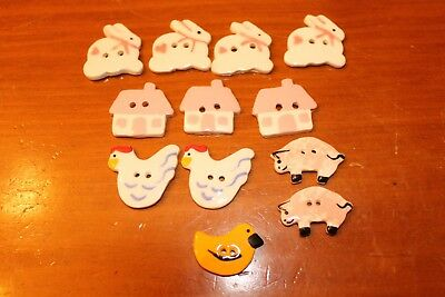 Ceramic Buttons Farm Collection Rabbits-Chickens-Pigs-Duck-House Set Of 12