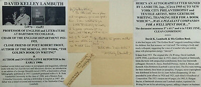 Dartmouth College Professor English Author Friend Poet Frost Letter Signed 1906!