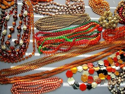 Vintage Beaded Necklace Lot ~ 20 Vintage Necklaces ~ Pretty Fall Colors