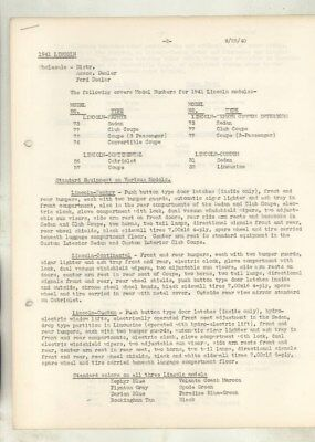 1941 Lincoln Zephyr & Continental Custom Features Service Letter wz5773