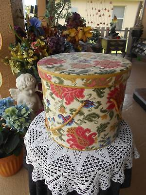 vintage 60's HAT BOX storage decor covered quilted vinyl bohemian boho chic
