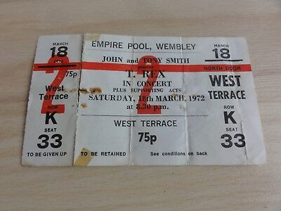 Very rare T. Rex unused Wembley 1972 ticket Marc Bolan Born to Boogie Bowie Finn