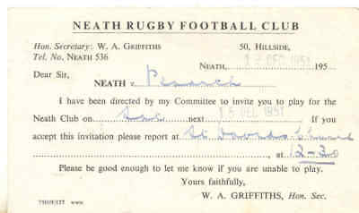 vintage card - invitation to play for neath rfc 1951