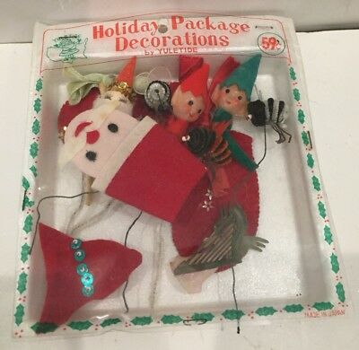 Vintage Yuletide Christmas Package Plastic Several Various Gift Tie-On's Pieces