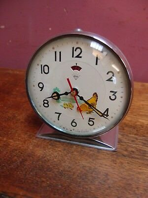 VINTAGE 1950s ALARM CLOCK with PECKING HEN PAINTED CASE NEARLY WORKING