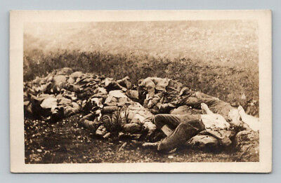WW1 Antique GERMAN Real Photo RPPC Postcard LARGE HOLE with DEAD SOLDIERS