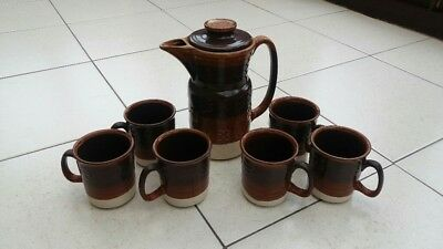 VINTAGE 1960/70's LORD NELSON POTTERY COFFEE POT WITH LID AND 6 CUPS RETRO