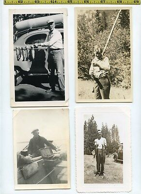 (28) Vintage photo lot / FISHING Fishermen Fish Rods Boats OLD SNAPSHOTS 1910-65