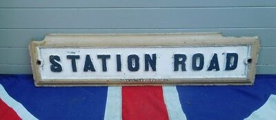 Architectural British Antique Vintage Station Road Cast Iron Street Sign