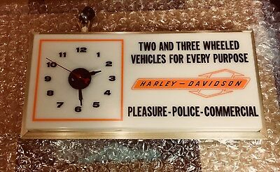 Vintage Harley Davidson Lighted Sign / Clock