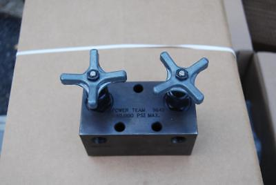 spx power team 9642 manifold block with 2 needle valves   mint service ready