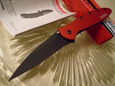 Kershaw Leek Black Red Assisted Open Tactical Pocket Knife 1660RDBLK 14C28N USA