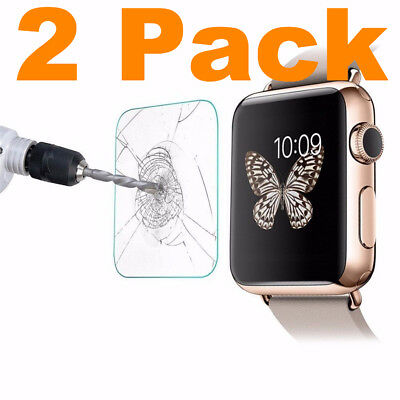 2PACK Tempered Glass For Apple Watch 38mm Series 1 2 3 S1 S2 S3 Screen Cover HD