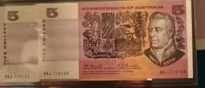 1967 Australia 2 x consecutive Coombs/Randall $5 Five Dollars notes UNC