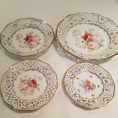 Vintage Schumann Arzberg Germany Set Of 4 China Plates With Floral Design