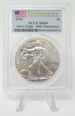 2016 $1 Silver Eagle 30th Anniversary First Strike PCGS MS69