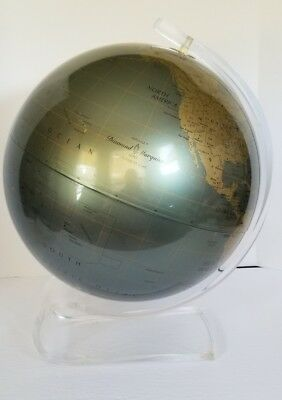 "Vintage Replogle 12"" Diamond Marquise World Globe Clear Lucite Stand Mid Century"