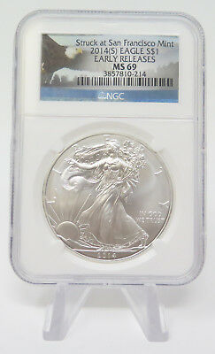 2014 $1 Struck at San Francisco Mint Silver Eagle Early Releases NGC MS69