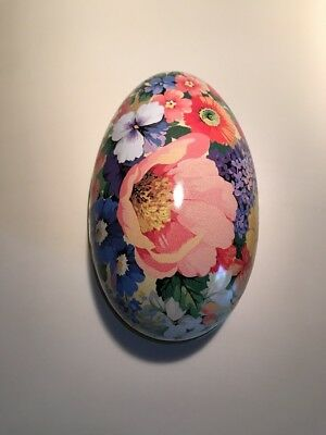 Hallmark Spring Flowers Tin Metal Flower Easter Egg Candy Container Chintz