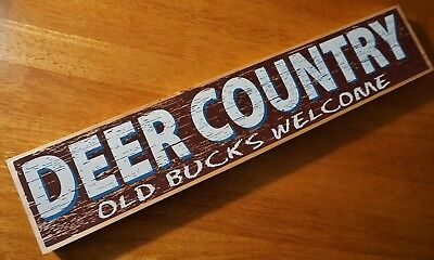 DEER COUNTRY WOOD SIGN Hunting Lodge Hunter Cabin Rustic Primitive Home Decor