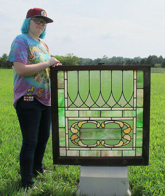 Antique Arts & Crafts LG Stained Glass Window Panel Architectural Salvage #2 yqz