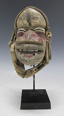 Antique African Igbo Tribe Hand Carved & Painted Wood Face Mask Nigeria #22 yqz
