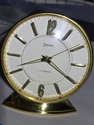 "Vintage Of 1970's ""SWIZA"" 7 Jewels Swiss Mech Move Solid Brass Alarm Clock"