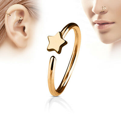 "1 PC 20g 5/16"" Small Star 2MM IP Surgical Annealed Steel Twist Nose Hoop Ring"
