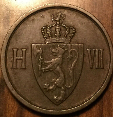 1906 NORWAY 2 ORE COPPER COIN - Superior details!