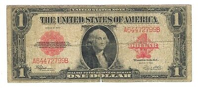 1923 United States $1 Legal Tender Note - Red Seal- Speelman & White - Good
