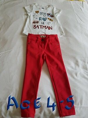 Girls Next Red Jeans & Top Age 4/5