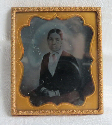 """ANTIQUE 1850s AMBROTYPE WITH BRASS MAT FRAME LADY 2 3/4 X 3 1/4"""""""