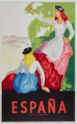Vintage Canary Islands Spain Tourism Poster Print A3/A4