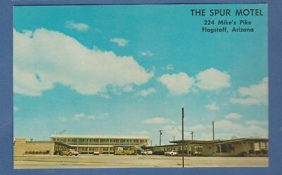 Flagstaff, Az/ The Spur Motel/ exterior/ old cars/ chrome postcard