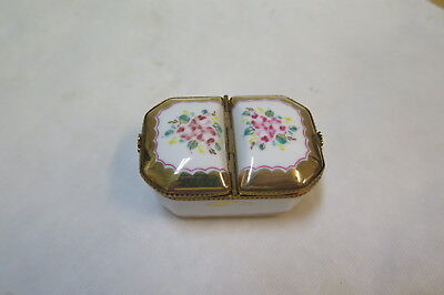 rare two lidded Pient Main Limoges trinket box,