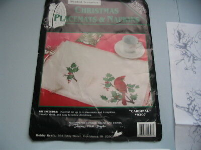 Place mats and Napkin Painting Kit Christmas Cardinal New
