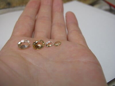 Natural Citrine oval gemstone LOT x 4 stones