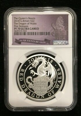 2018 Queen's Beasts Red Dragon 1oz Silver NGC PF70 First Releases W/OGP